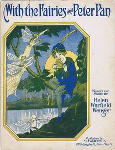 With The Fairies and Peter Pan 1925 Vintage Sheet Music