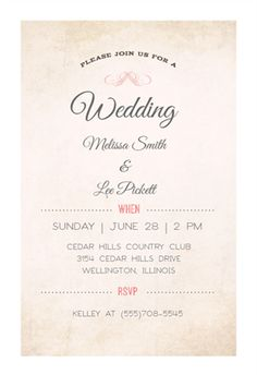 Modern Media  Free Printable Wedding Invitation Template