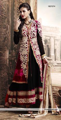 #Black Long #Salwar Kameez Check out this page now :-http://www.ethnicwholesaler.com/salwar-kameez