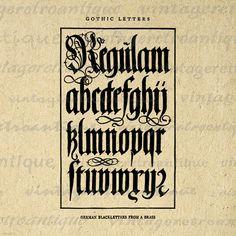 Digital German Blackletters Antique Alphabet Image Graphic Collage Sheet Printable Download Vintage Clip Art Jpg Png 18x18 HQ 300dpi No.1047
