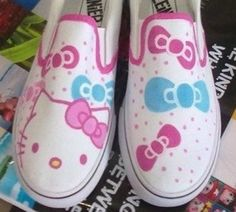 Hello Kitty hand painted canvas shoes, so cute! :)