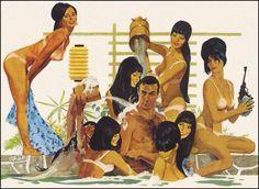 "Robert McGinnis, (detail), poster art for ""You Only Live Twice"", James Bond Movie Posters, James Bond Movies, Movie Poster Art, Robert Mcginnis, Pulp Fiction Art, Pulp Art, Pinup, Comics Vintage, Serpieri"