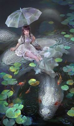 Die weiße Schlange Shengyi Sun Digital 2016 - *_* - The white snake Shengyi Sun Digital 2016 - * _ * - Fantasy Artwork, Anime Artwork, Snake Art, Fantasy Kunst, Dragon Art, Snake Dragon, Water Dragon, Mermaid Art, Fantasy Creatures