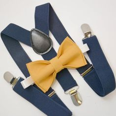 Bow Tie & Suspenders SET / Mustard Yellow Bow Tie / Navy Blue Suspenders / Kids Mens Baby Wedding Page Boy Set 6 months - Adult - colorful houses Navy Blue Suspenders, Suspenders Outfit, Suspenders For Kids, Bowtie And Suspenders, Navy Suits, Groom Suits, Groom Attire, Yellow Bow Tie, Blue Ties