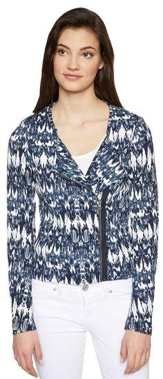Biker-Jacke aus Jersey für Frauen (gemustert, langärmlig mit Rundhals-Ausschnitt und asymmetrischem Zipper) mit Stretch-Anteil für einen perfekten Sitz, mit abstraktem Ikat-Muster. Material: 88 % Viskose 10 % Polyester 2 % Elasthan...