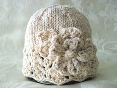 Hand Knitted Baby Hat in Ivory Lace cotton by CottonPickings