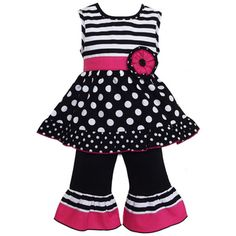AnnLoren Boutique Girls Stripes and Polka Dots Tunic with Capris 2-piece Set