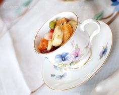 or serve fruit salad out of the tea cups ...  can't wait for the Ladies Tea in May!