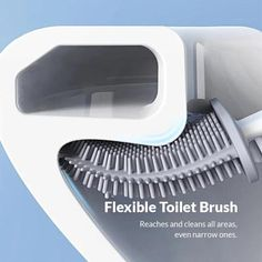 Cleaning the toilet has never been this easy! Introducing the Revolutionary Silicone Flex Toilet Brush With Holder. The best and most effective toilet brush there is! It's equipped with a flexible, D-shaped brush head that's made of tiny silicone bristles. It has the ultimate cleaning ability. Allows you to clean and r Diy Home Cleaning, Household Cleaning Tips, House Cleaning Tips, Diy Cleaning Products, Cleaning Solutions, Cleaning Hacks, Cleaning Spray, Traditional Toilets, Toilet Brush