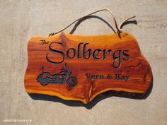 "Cedar Sign Solbergs motorcycle sign Blackchancery font motorcycle carving 18"" sign"