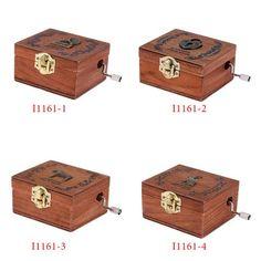 Retro vintage Wooden Hand Crank Music Box Orgel 4 Patterns Creative Unique artware Gift Exquisite Craftsmanship