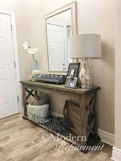 Rustic farmhouse entryway table sofa table console table #hallwayideasrustic