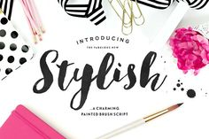 Ad: Stylish Brush - A fabulously trendy brushed typeface with a sweet little bonus. #font #script #handlettered $16