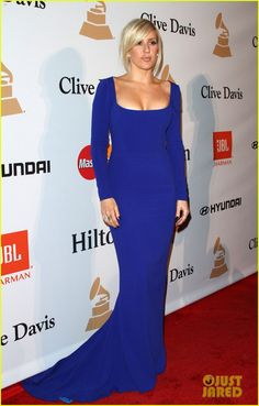 Ellie Goulding Glams Up for Pre-Grammys Gala with Elle King!: Photo #929280. Ellie Goulding is stunning in blue while walking the red carpet at the 2016 Pre-Grammy Gala and Salute to Industry Icons held at the Beverly Hilton Hotel on Sunday…