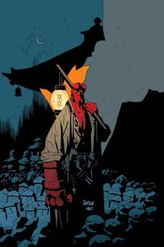 Hellboy by Mike Mignola and he is wonderful. You should read the comic book right now.