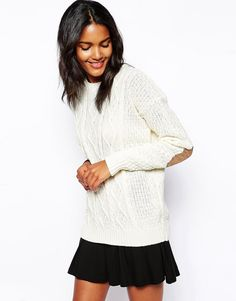 Glamorous Cable Knit Sweater with Elbow Patch