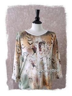 Cactus Bay Casual Tee Top 2X Beaded Beige Blouse Southwestern Print Womens XXL