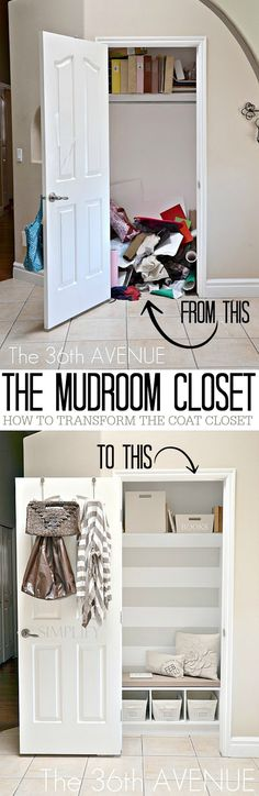 DIY Home Project - Transform an ordinary closet into an extraordinary mini mudroom !