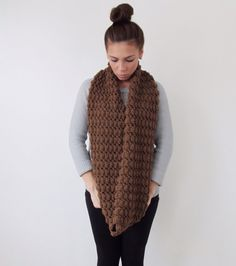 Chunky Cowl Crochet Scarf - The Banded - in Taupe | Cowls, Cowl Scarf ...