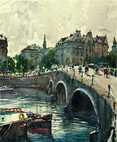 Landscape Painting Watercolour Original Amsterdam Canal River Boats 24x20 inch #RealismImpressionism