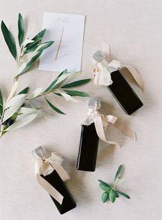 Olive oil favors: http://www.stylemepretty.com/2015/09/10/outdoor-western-australia-summer-wedding/ | Photography: Jose Villa - http://josevilla.com/