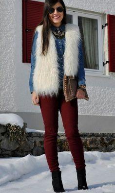 Denim + burgundy+ fur vest