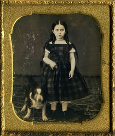 Dog Daguerreotype of A Full Standing Lassie in Scottish Dress and Canine Friend…