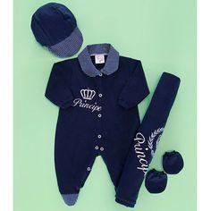 Saída de Maternidade Príncipe Enxoval Para Bebê Menino Azul Malha