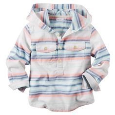 Made with summer stripes and lightweight cotton, this hooded pullover makes a perfect layer for after dinner walks along the shore.