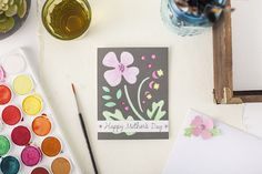 How cute is this watercolor flower card - to DIY for!