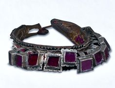 collar  on leather,  glass and silver Tiznit , Ida or Nadif, Central Anti Atlas , Morocco (archives sold Singkiang)