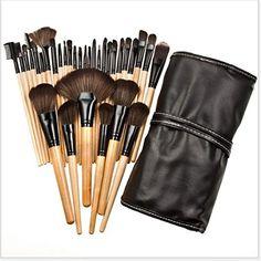 Anosed Professional 32PCS Premium Luxurious Synthetic Hair Makeup Cosmetics Foundation Blending Blush Face Powder Brush Makeup Brush Kit Brush Set with Bag and Brush Egg - Black >>> For more information, visit image link.