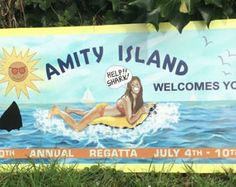 Large Amity Island sign from JAWS (2 versions available)