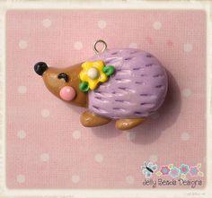 purple hedgie bead, bow center, pendant, charm