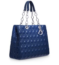 #Dior Large blue leather 'Dior Soft' shopping bag