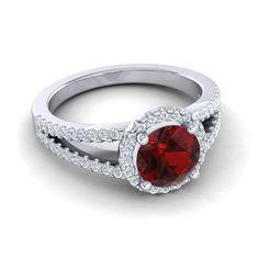Garnet | Gemstone | Halo Rings | Wedding | Engagement Jewelry
