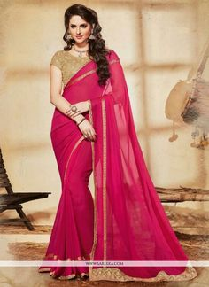 Grab the second look in this elegant attire for this season. True elegance can come out from your dressing style with this hot pink georgette designer saree. Look ravishing clad in such a dress that's...