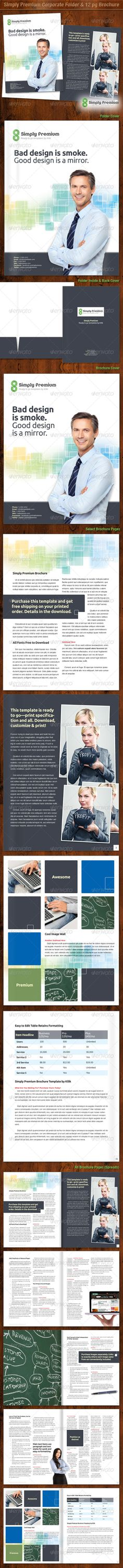 Simply Premium Corporate Folder & 12 page Brochure by Kilik Simply Premium templates are the new elite standard in high-end business material. They are designed with the true business profes Design Brochure, Corporate Brochure, Brochure Template, Javascript Cheat Sheet, Layout, Catalogue, Print Templates, The Help, Presentation