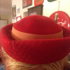HOST PICK- Vintage Hat Red vintage hat with netting!!!! Beautiful!!!! This hat is vintage and may have spots or stains Vintage Accessories Hats