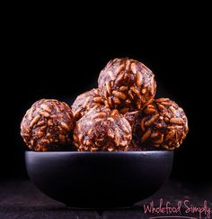 Nut Free Chocolate Crackle Bliss Balls. No blending, no dates, no nuts. Little time, little mess. Few whole food ingredients and so delicious! Enjoy. x