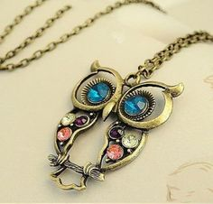 fashion necklaces for women 2014 Hollow Out Gem Owl Vintage Long #necklaces #p #jewelry ...