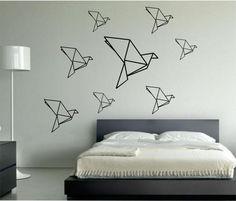 Origami Birds wall decal Mamma bird and her babies Vinyl Sticker Art Decor Bedroom Design Mural birds inteior design geometric geometry