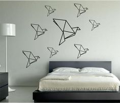 Origami Birds wall decal Mamma bird and her babies Vinyl Sticker Art Decor Bedroom Design Mural birds inteior design geometric geometry