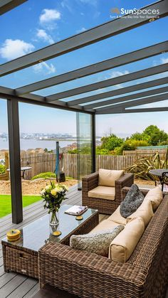 Extend your living space with a glass sunroom! Enjoy your outdoor space even during the colder months Outdoor Pergola, Outdoor Rooms, Outdoor Living, Contemporary Garden Rooms, Rooftop Terrace Design, Garden Room Extensions, Back Garden Design, House Extension Design, Backyard Patio Designs