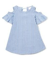 Take a look at this Blue & White Stripe Open-Shoulder Dress - Toddler & Girls today! Girl Fashion Style, Tween Fashion, Toddler Girl Dresses, Girls Dresses, Toddler Girls, Cute Baby Clothes, Baby Dress, Casual Dresses, Kids Outfits