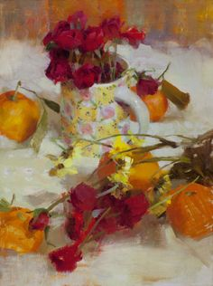 all sorts of oranges and pinky red. Nancy Guzik (American) 'Ruby Rose Tea'