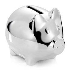 Sparegris i blank forsølvet finish Piggy Bank, It Is Finished, Money Box, Savings Jar