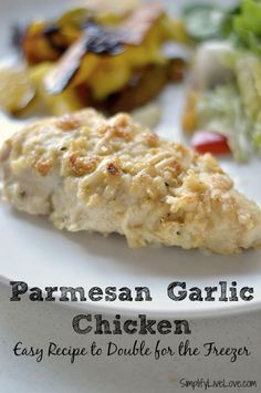 A quick and easy freezer friendly recipe for parmesan garlic chicken. Make one batch for dinner and another batch to freeze.