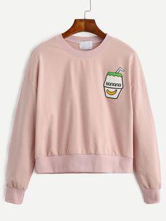 1c2b39d564 Shop Pink Drop Shoulder Embroidered Sweatshirt online. SheIn offers Pink  Drop Shoulder Embroidered Sweatshirt