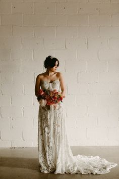 010a3a9ec55ee Lace boho bridal gown w/ a bustier torso | Image by Diana Albrecht  Photography Alternative